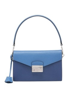 Prada cobalt and blue saffiano leather color block shoulder bag