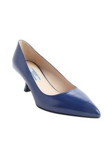 Prada cobalt leather sling back pointed toe kitten pumps