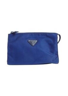 Prada cobalt nylon logo stamp travel purse