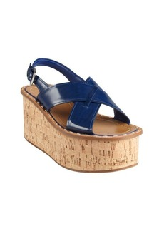 Prada cobalt patent leather strap cork wedge platforms