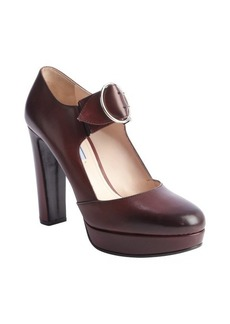 Prada cordovan leather buckle strap platform pumps