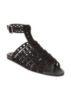 Prada Cutout-Leather Flat Gladiator Sandals