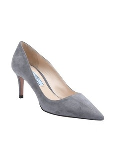 Prada dark grey suede pumps