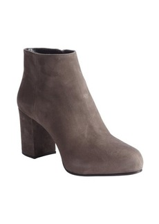 Prada dark smoke suede block heel booties