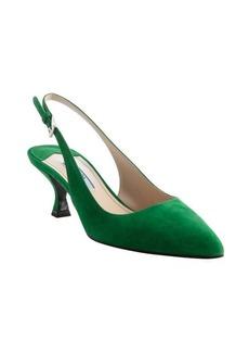 Prada emerald suede slingback pumps