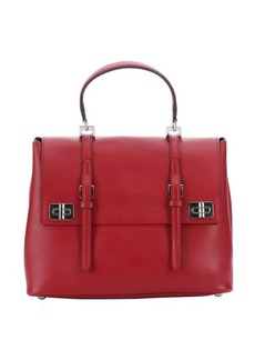 Prada fire leather buckle detail convertible tote bag