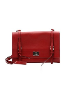 Prada fire red leather dual compartment shoulder bag
