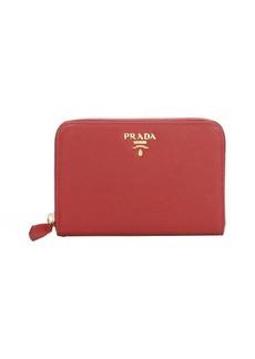 Prada fire saffiano leather zip around wallet