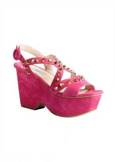 Prada fuchsia suede studded chunky wedge sandals