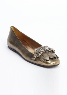 Prada gold cracked leather tassel and chain detail loafers