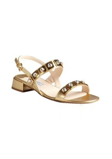 Prada gold crosshatched leather crystal embellished slingback sandals