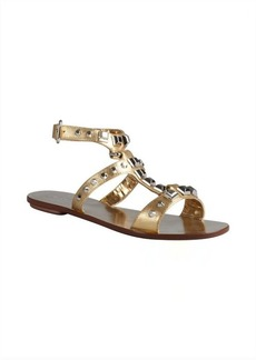 Prada gold crosshatched leather studded gladiator sandals