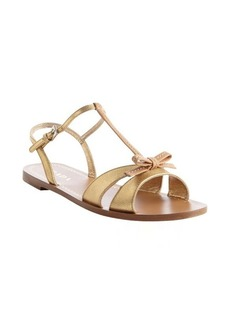 Prada gold leather bow tie detail strappy open toe sandals