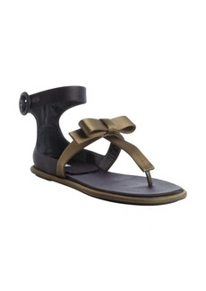 Prada green and black leather and nylon anklestrap sandals