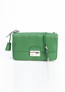 Prada green leather flap chainlink shoulder bag
