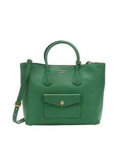 Prada green saffiano leather convertible shopping tote
