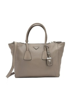 Prada grey deerskin large convertible tote