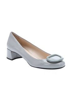 Prada grey patent leather buckle detail pumps