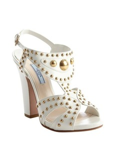 Prada ivory leather brass stud open toe pumps