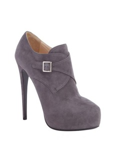 Prada light grey bucklestrap heel platform booties