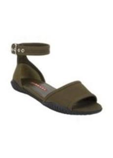 Prada Linea Rossa Gabardine Ankle-Strap Flat Sandals