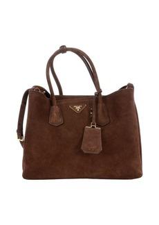Prada mahogany suede 'City' double handbag