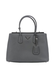 Prada marble leather structured top handle tote bag
