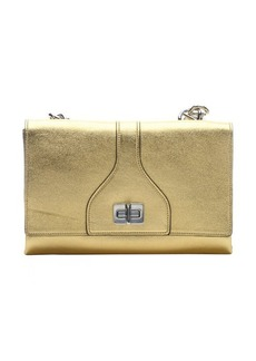 Prada metallic gold leather dual fold over flap chainlink shoulder bag