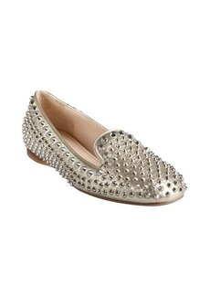 Prada metallic gold leather silver studded slip-on loafers