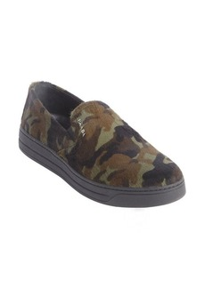 Prada military green camouflage printed calf hair sip on loafers