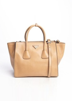 Prada natural grained leather twin pocket tote bag