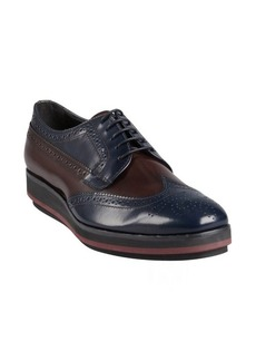 Prada navy and brown leather tooled wingtip platform oxfords
