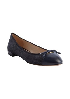 Prada navy fabric leather trimmed bow tie detail logo imprinted flats