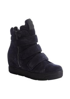 Prada navy suede high-top side zip sneakers