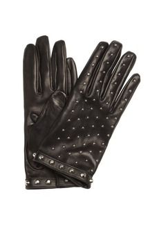 Prada nero black leather studded gloves