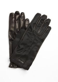 Prada nero black nylon and lambskin leather gloves