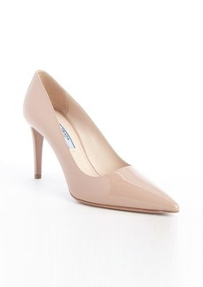 Prada nude patent leather pointed toe pumps