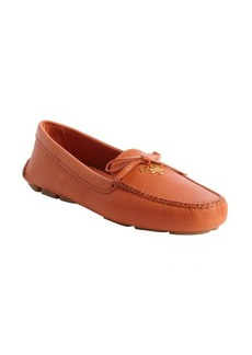 Prada orange leather bow detail slip on loafers
