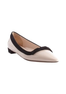 Prada petal pink and black patent leather suede accent bow detail flats