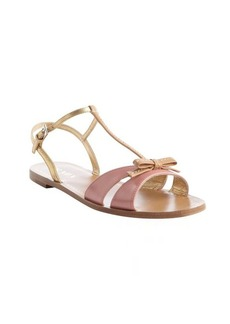 Prada petal pink and gold leather bow tie detail strappy open toe sandals