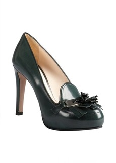 Prada pine green leather fringe tassel platform loafer pumps