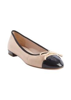 Prada powder and black cap toe bow detail ballet flats