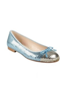 Prada powder blue and silver sequined bow ballet flats