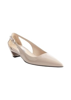Prada powder leather adjustable pointed toe pumps