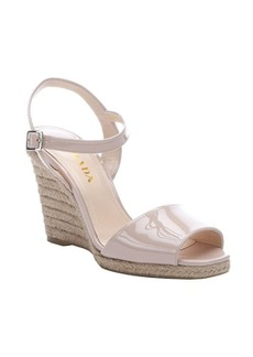 Prada power patent leather and jute wedge sandals