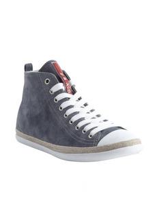 Prada prada sport blue suede capped toe lace up sneakers