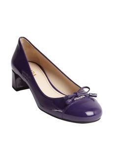 Prada purple patent leather cap toe heel pumps