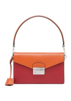 Prada red and orange saffiano leather color block shoulder bag