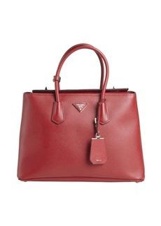 Prada red leather logo stamp top handle tote