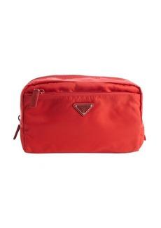 Prada red nylon large cosmetic case